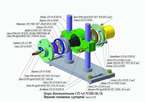 Опора дополнительная С25-4А.15.500-06 СБ (верхнее положение суппорта)