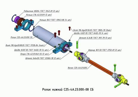 Ролик нижний С25-4А.23.000-08 СБ